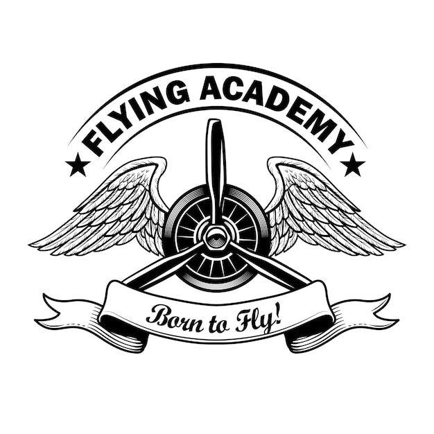 Flying academy label