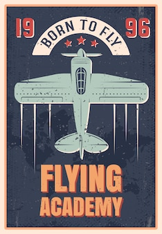 Flying academy retro style poster of blue airplane with propeller, vector illustration