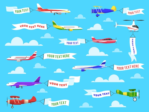 Flying advertising banner. sky planes banners airplane flight helicopter ribbon template text advertisement message set