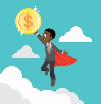 Flying african businessman holding a coin.