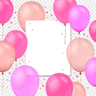 Flying air balloons paper banner and confetti particles on transparent background
