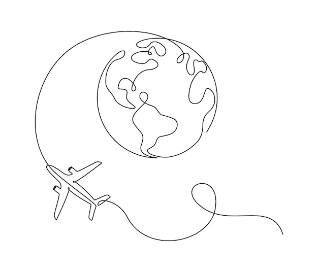 Flying airplane around earth globe in one continuous line drawing. concept of turism trip and travel. simple vector illustration in linear style