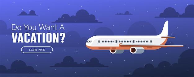 비행 비행기입니다. 여행 및 휴가 디자인을 위한 배너 또는 전단지. 별이 빛나는 밤하늘. 벡터 일러스트 레이 션.