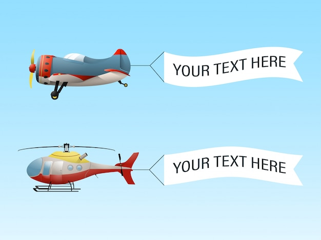 Flying airplane and helicopter with banners.