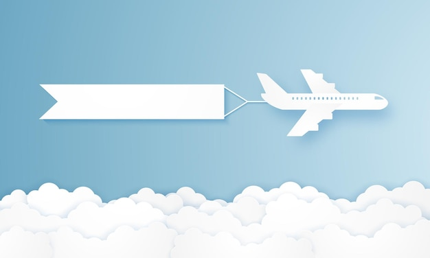 Flying airplane pulling advertising banner in paper art style