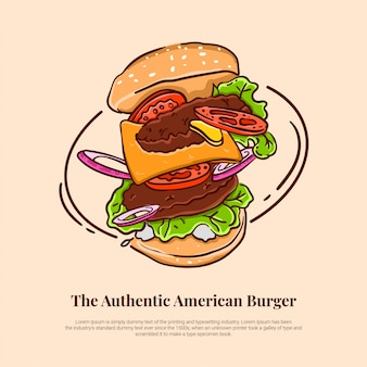 Flying american burger with salad beef onion tomato cheese mustard