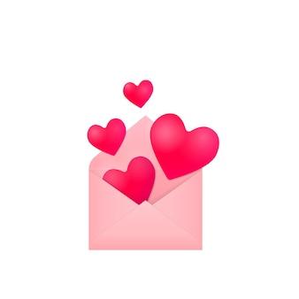 열린 분홍색 종이 봉투, 흰색 배경에 고립 된 축제 그림 디자인 요소에서 비행 및 떨어지는 붉은 마음