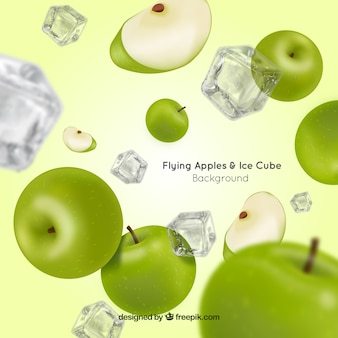 Flying and ice cube background in realistic style
