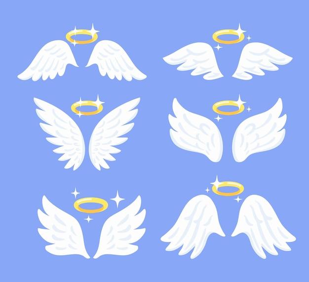 Крылья летающего ангела с нимбом. набор птичьих перьев.