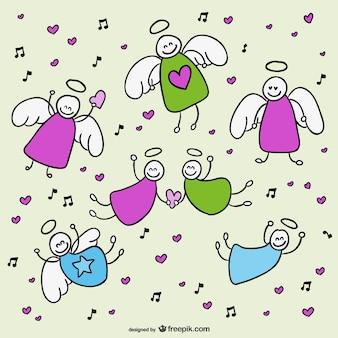 Flying angels doodles