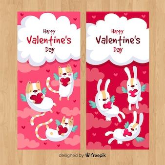 Flying animals valentine banner