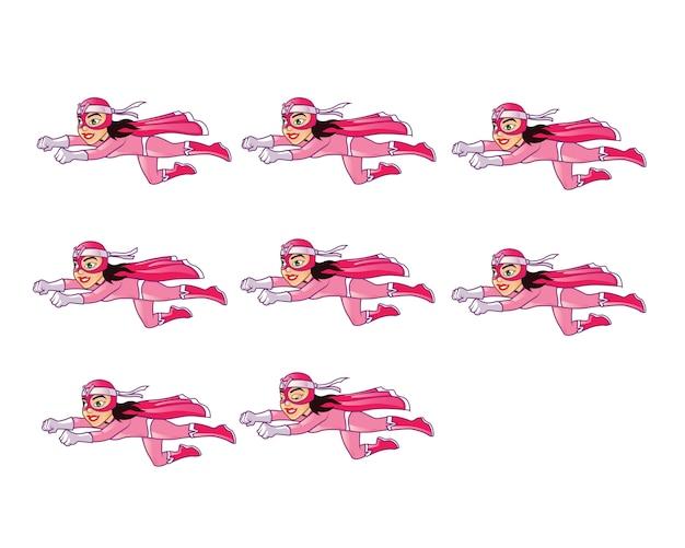 Женский маскарадный супергерой flying animation sprite