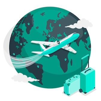 (飛行機で)世界を飛び回る概念図