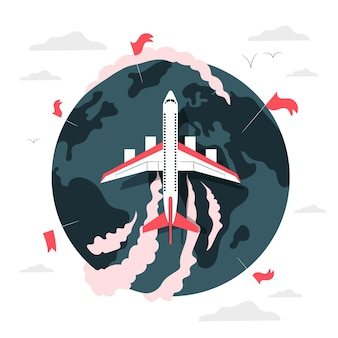 Flying around the world (with airplane) concept illustration