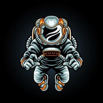 Flying astronaut mascot logo
