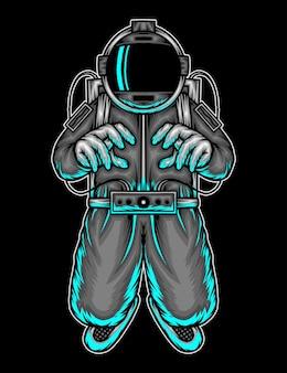 Flying astronaut in space. premium vector