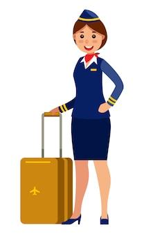 Flying attendant stewardess holding suitcase