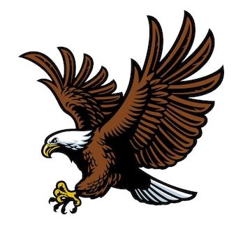 Летающий белоголовый орлан талисман плоская иллюстрация