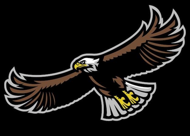 Flying bald eagle mascot