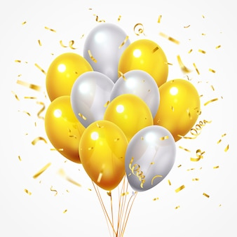 Flying balloons group. golden shiny falling confetti, glossy yellow and white helium balloon with gold ribbon 3d
