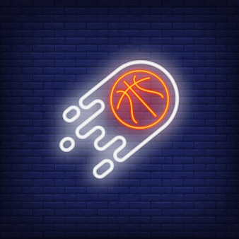 Flying basketball neon sign