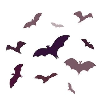 空飛ぶコウモリ白い背景で隔離の漫画の洞窟コウモリのグループ
