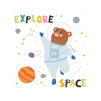 Flying bear in space suit, planet and constellation