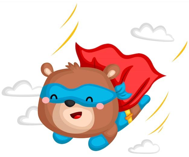 Flying bear superhero