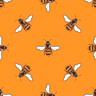 Летающий пчел вектор бесшовные шаблон