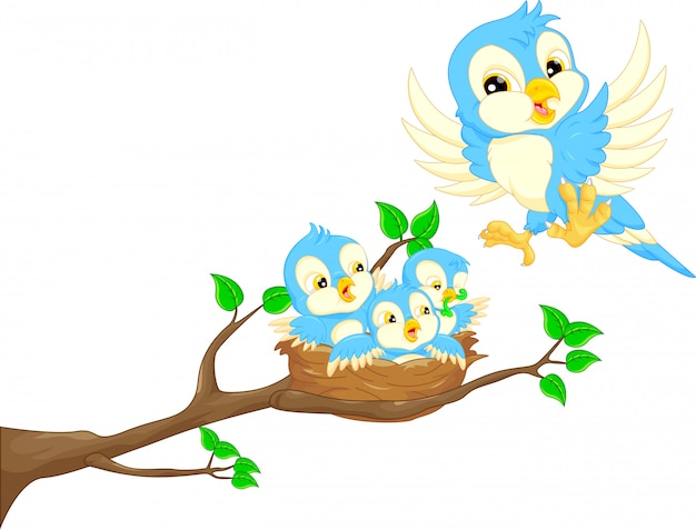 Flying bird and baby bird in the nest