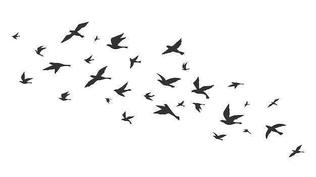 飛んでいる鳥。無料の鳥が飛行中の黒いシルエットに群がります。タトゥー画像、自由シンボル野生動物ベクトルイラスト。黒の動物グループのシルエット、空中の鳥