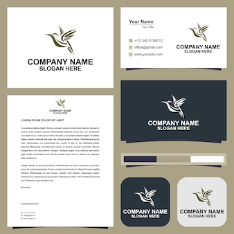Flying bird logo elegant vector premium