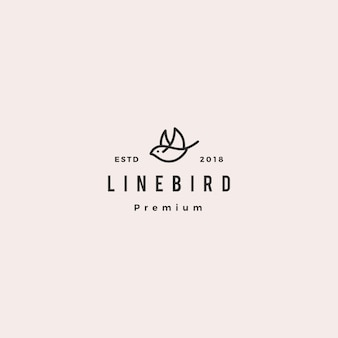 Flying bird logo hipster retro vintage line outline monoline  icon illustration