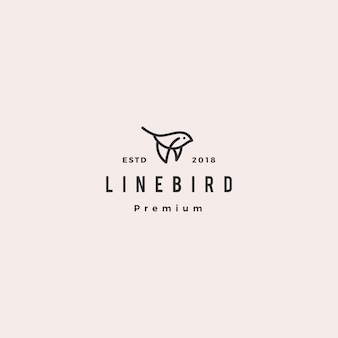 Flying bird logo hipster retro vintage line outline monoline