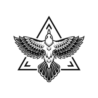 飛んでいる鳥のロゴのテンプレート
