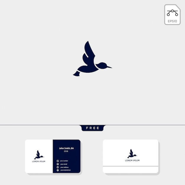 Flying bird outline logo template vector illustration and business card design include