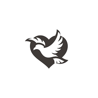 Flying bird pigeon dove wing spread and heart love peace symbol icon logo design