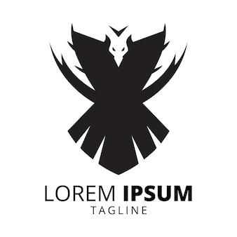 飛んでいる鳥のシルエットのロゴデザイン