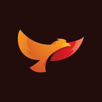 Flying bird wing spread logo icon