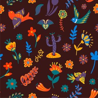 花のシームレスなパターンで飛んでいる鳥や花