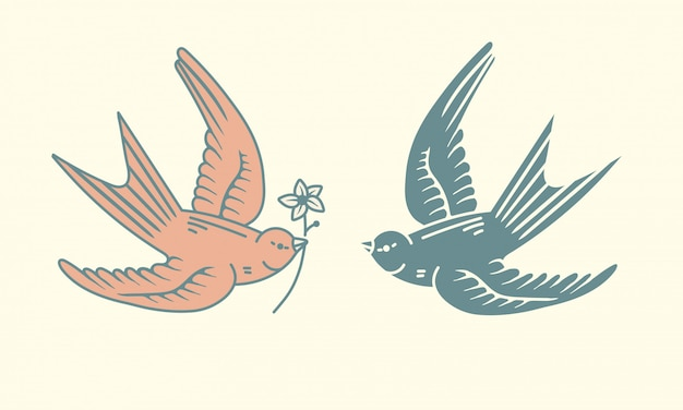 Flying birds logo design assets, simple bird with a flower icon in simple vintage hand drawn style. graphic design elements