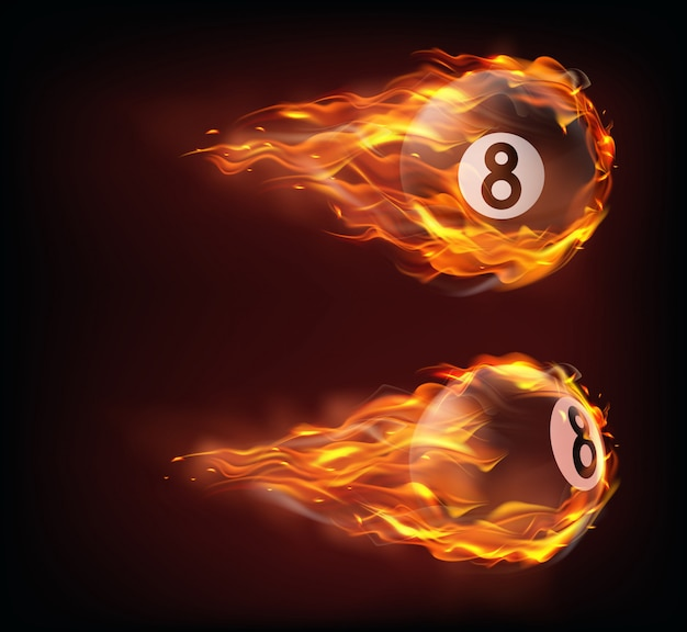 Flying black billiard eight balls in fire