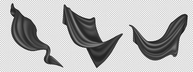 흰색 배경에 고립 된 비행 검은 실크 직물. 부는 바람에 격렬한 벨벳 옷, 커튼 또는 스카프의 현실적인 세트. 고급스러운 블랙 텍스타일 커튼, 흐르는 새틴 티슈