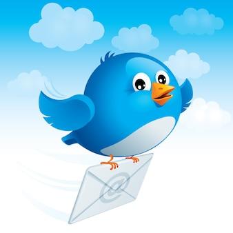 飛んでいる青い鳥は、電子メールのシンボルと封筒を配信します