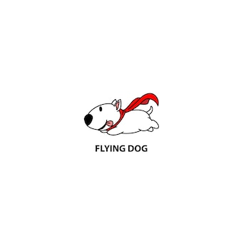 Flying bull terrier dog with red cape icon