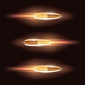 燃えるような痕跡のある空飛ぶ弾丸セット。