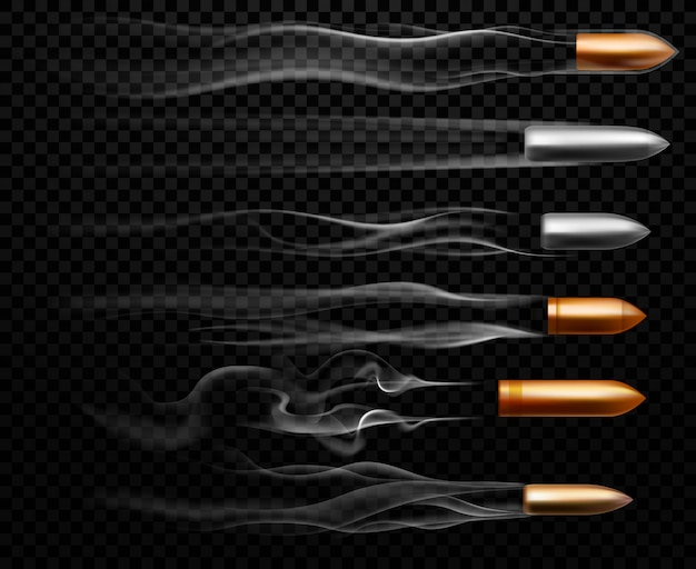 Flying bullet traces. shooting military bullets smoke trace, handgun shoot trails and realistic shoot trail illustration set