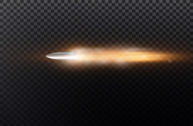 Flying bullet with dust trail.  on black transparent background.  illustration