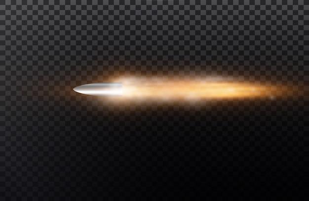 ダストトレイル付きの弾丸。黒の透明な背景に。図