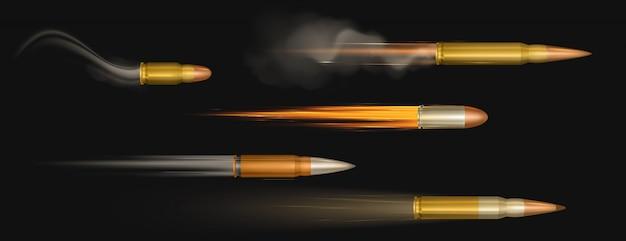 화재 및 연기 흔적이있는 총알 비행. 군사 권총 촬영 산책로 촬영, 모션 총, 무기 금속 샷, 탄약 격리